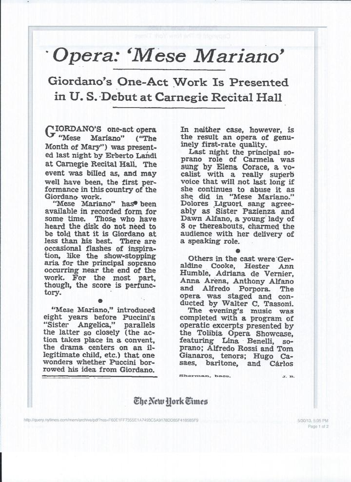June 1955 Review of 'Mese Mariano'-U.S. Premiere